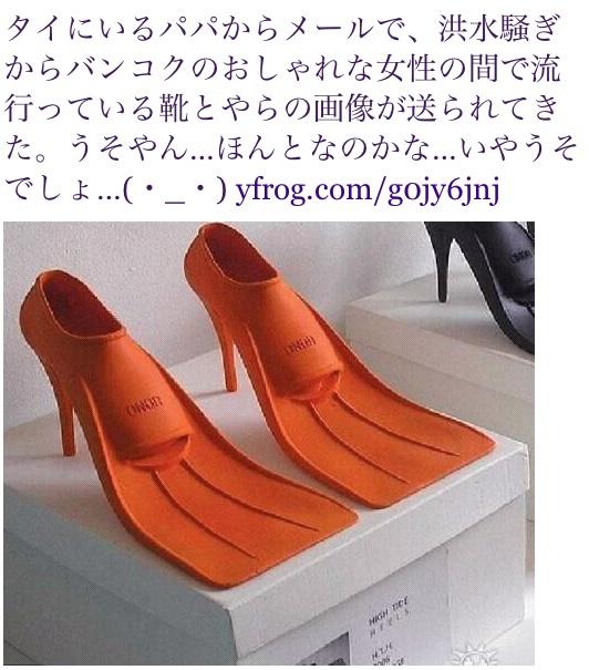 タイにいるパパからメールで、洪水騒ぎからバンコクのおしゃれな女性の間で流行っている靴とやらの画像が送られてきた。うそやん…ほんとなのかな…いやうそでしょ…(・_・) http://yfrog.com/g0jy6jnj